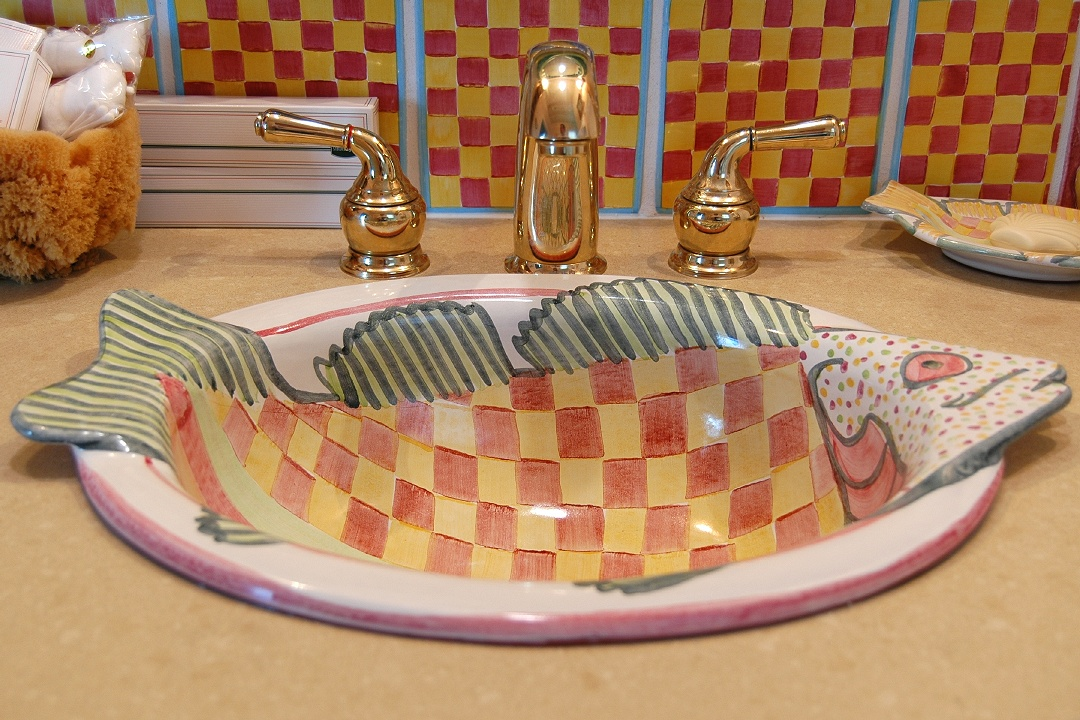Mackenzie Childs Fish Sinks Tiles In Bathrooms Idyll By The Sea Two Photos  North Topsail Beach Carolina